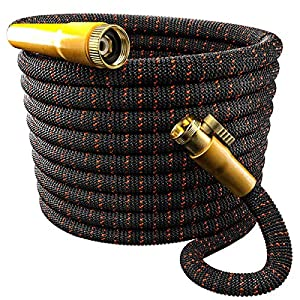 TBI Pro Garden Hose Expandable and Flexible – Super Durable 3750D Fabric | 4-Layers Flex Strong Latex | No-Rust Brass Connectors with Pocket Protectors – Water Hoses for Gardening (50FT Hose Only)