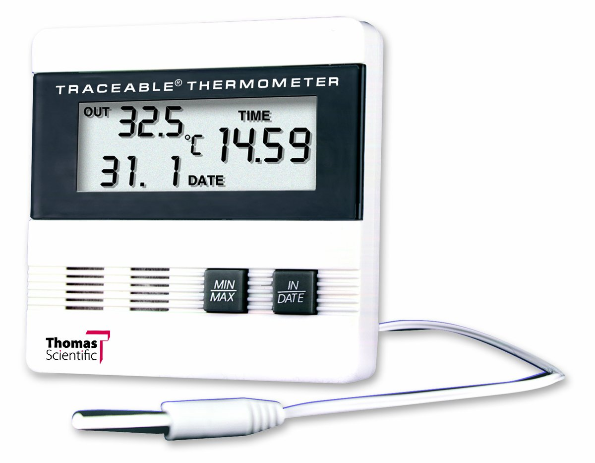Thomas Traceable Recording Thermometer, with Time/Date/Min/Max Memory, -40 to 176 degree F Thomas Scientific 4105