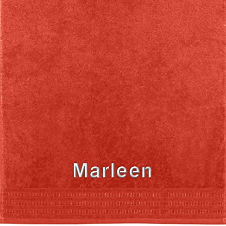 Erwin Müller Toalla con nombres Marleen bordados, naranja, 50 x 100 cm
