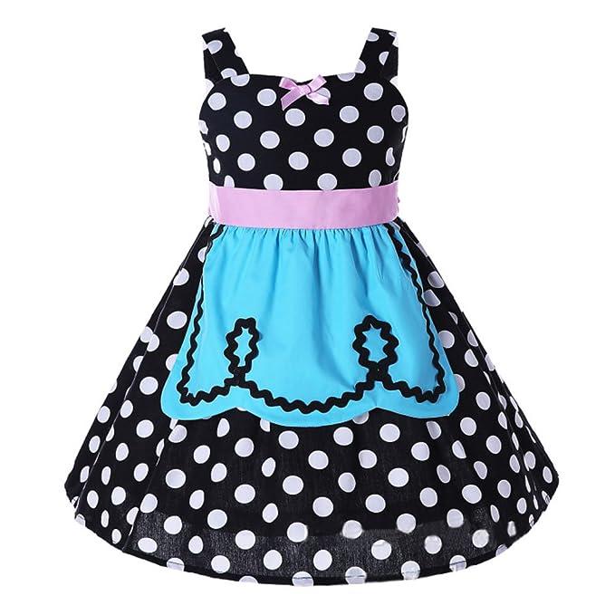 2017 Vestido de lunares del verano de las muchachas - vestidos retros del negro de la