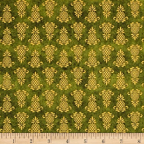 Wilmington Prints The Way Home Pineapple Icon Fabric by The Yard, Green