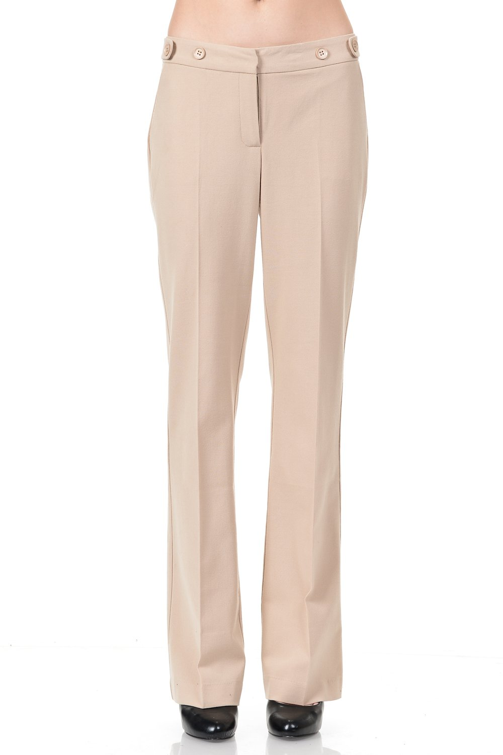 Maryclan Career Women's Dress Pants Little Boot Cut With Double Button Tab Detail (Large, Khaki)