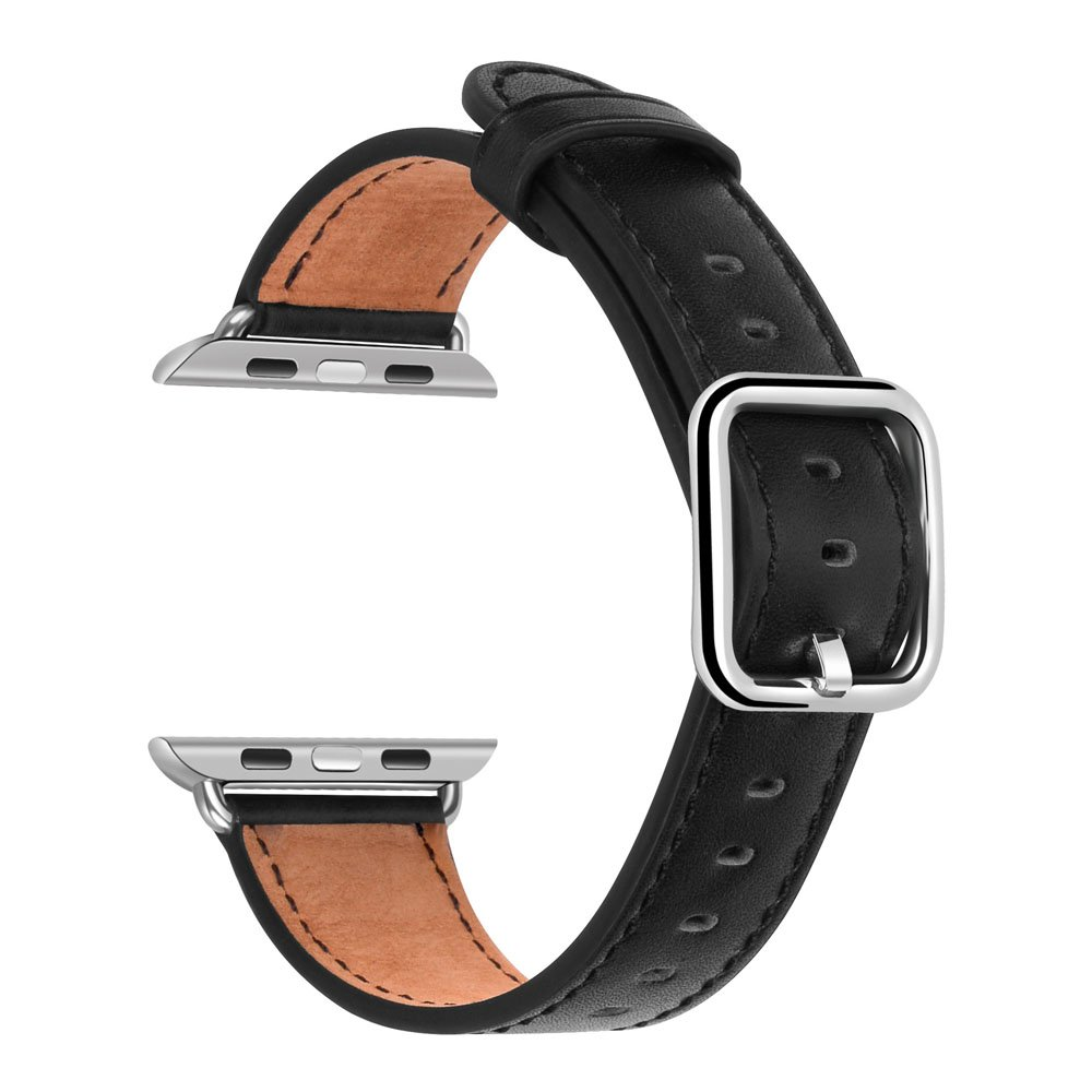 Apple Watch Band 42mm - Genuine Leather iWatch Band Replacement for Apple Watch Series 3/2/1 (Black)