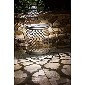 Cape Craftsmen White Quatrefoil Rounded Solar Powered Metal Patio Table