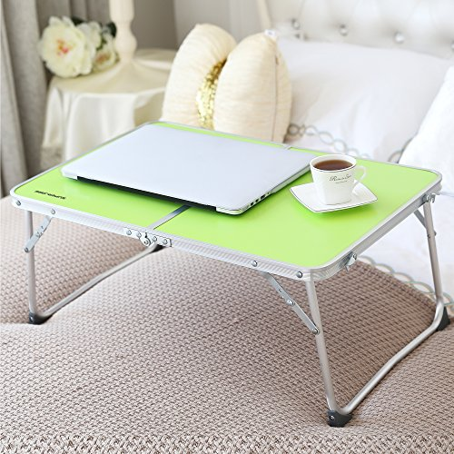 Foldable Laptop Table | Superjare Bed Desk | Breakfast Serving Bed Tray | Portable Mini Picnic Table & Ultra Lightweight | Folds in Half w' Inner Storage Space - Green