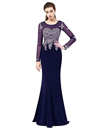 ad05b12f427 Sarahbridal Women s Gold Embroidery Lace Long Mermaid Formal Evening Prom  Dresses with Long Sleeve Navy Blue