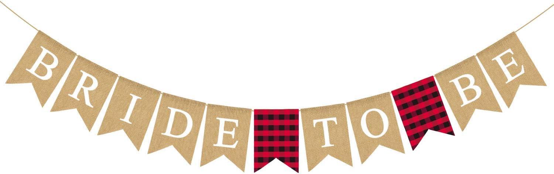 Rainlemon Jute Burlap Bride to Be Banner Flannel Buffalo Check Plaid Bachelorette Bridal Shower Party Decoration Supply