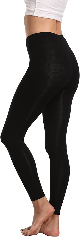 Cheapestbuy Womens Soft Cotton Full Length Legging Basic Solid Color Leggings Pants Plus Size and Regular Size