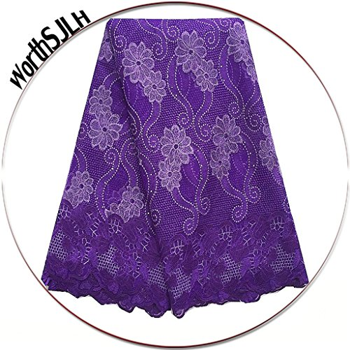 (WorthSJLH Purple African Lace Fabric 2019 Latest Net Nigerian Lace Fabric French Lace Fabric 5 Yards LF854 (Purple) )