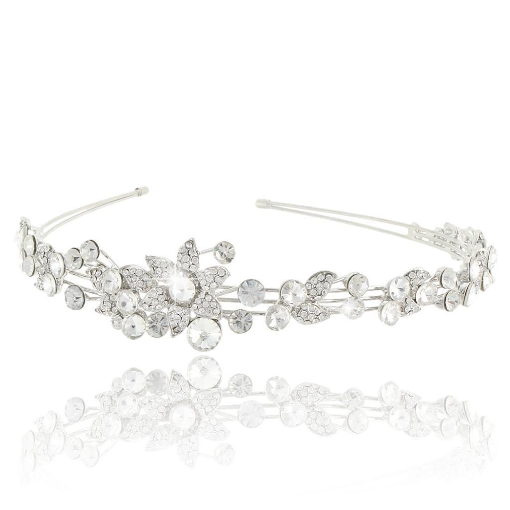 Ever Faith Wedding Flower Leaf Headband Clear Austrian Crystal Silver-Tone N03410-1