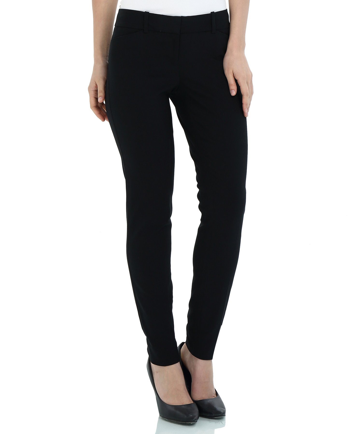 SATINATO Women's Straight Pants Stretch Slim Skinny Solid Trousers Casual Business Office Black