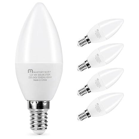 Mastery Mart E14 - Bombillas LED para vela, C37, rosca Edison pequeña, 4