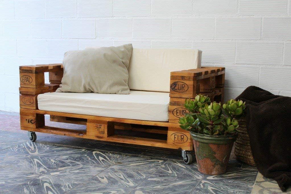 1 x SOFÁ con Ruedas para Interior & Exterior de 3 Plazas - Mueble de Terraza & Patio & Jardín hecho con Palets de Madera Reciclados (NO incluye esponja y funda) Conjunto Muebles Jardín &am