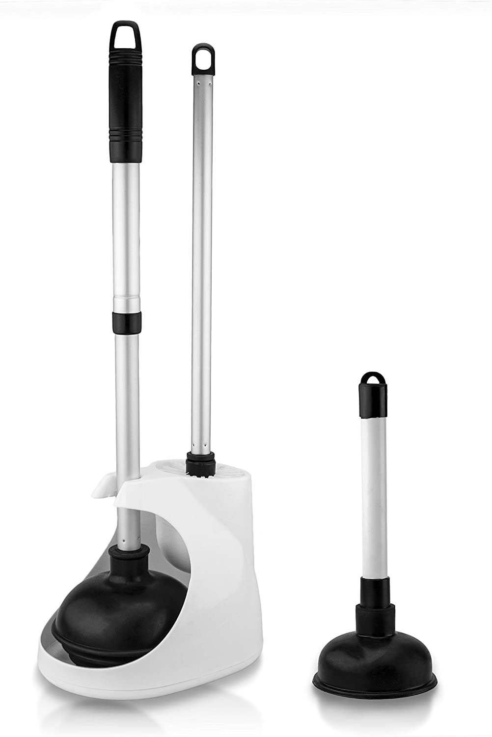 Neiko 60169A Toilet Plunger with Telescopic Aluminum Handle Compact and Discreet Patented All-Angle Design Bonus Mini Sink and Drain Plunger