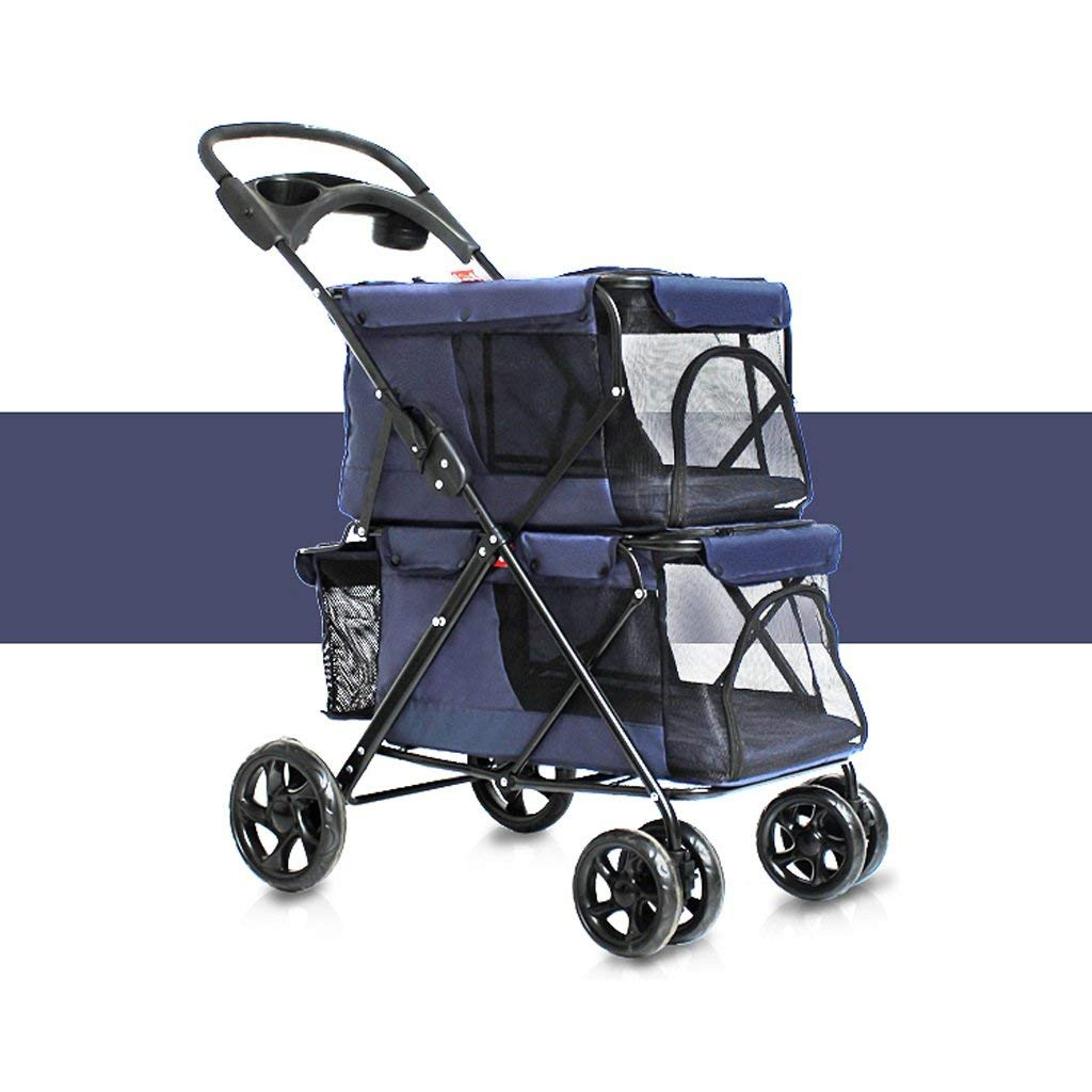 GWM Backpacks Pet Trolley NAUY- Easy Folding Double Dogs Big Space Carts Four Rounds of Outdoor Travel Supplies (color   Navy bluee)