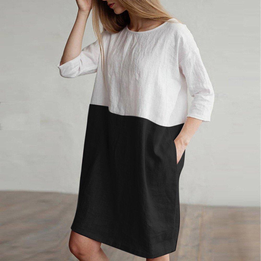 Vestidos Mujer Casual,Modaworld ❤️ Vestido Suelto de Lino ...