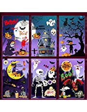 Halloween raamstickers, 6 stuks Halloween decoratieve stickers, Halloween plakafbeeldingen pompoen schedel vleermuis spinnennet, Halloween raamtattoo voor DIY muursticker raamsticker Halloween party