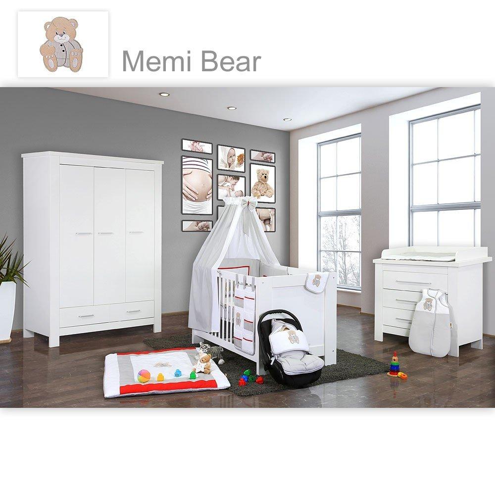 Babyzimmer Enni in weiss 10 tlg. mit 3 türigem Kl. + Textilien von Memi in Grau