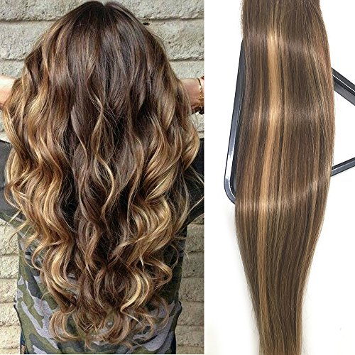 Honey Highlights (Clip in Hair Extensions Human Hair 16 inch Medium Brown with Honey Blonde highlights Dip Dyed Ombre Balayage 120g Full Head Straight Soft Extension Clips on)