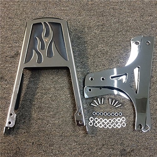 HTT Group Motorcycle Black Flame Backrest Sissy Bar With Leather Pad For Harley Davidson Softail Flstc Flstf Flstn Flsts FLSTSC FXST FXSTB FXSTS FXSTSB