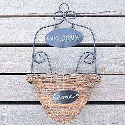 Meiyiu Plant Hanger Wicker Woven Wall Hanging Basket Flower Holders Home Garden  Wall Wedding Decoration With
