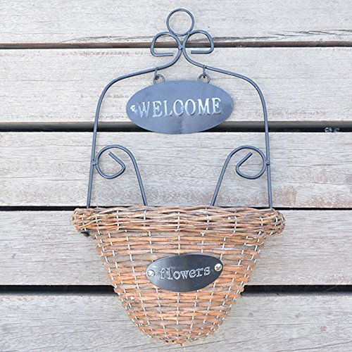 Zehui Welcome Decorative Plant Hanger Wicker Woven Wall Hanging Basket Flower Holders Home Garden Wall Wedding Decoration with Iron Rack (Wire Wall Basket Planter)