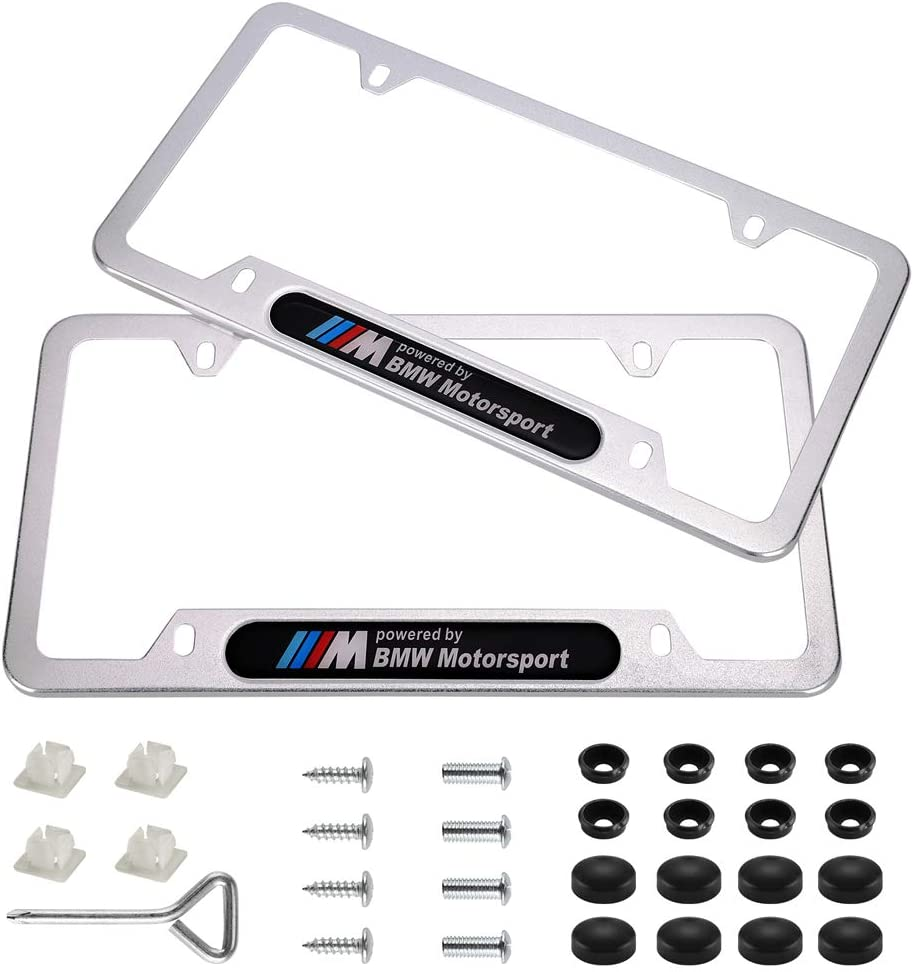 BMW-M Wonderchef 2Pack M Logo Stainless Steel License Frame with for BMW,with Screw Caps Cover Set-Black
