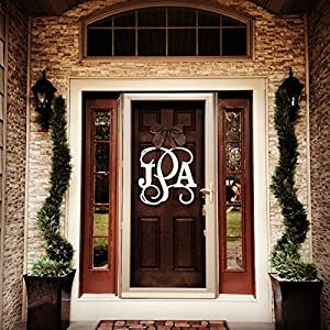 Custom Monogram Letter Wooden Door Hanger Wreath 29
