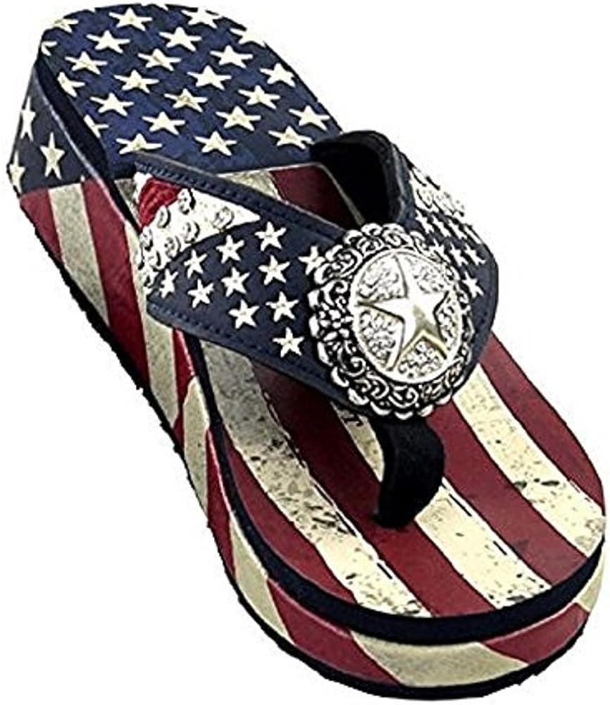 Patriotic Flip Flops Red White Blue