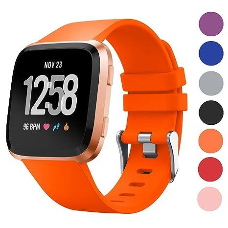 Spessn Fitbit Versa Correa, correa de reloj de silicona suave ajustable Fitbit Sport pulsera de