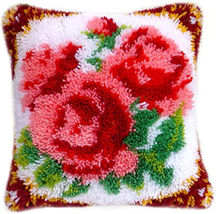 DIY Cushion Carpet Mat Latch Hook Rug Kits Cover Hand Craft Embroidery Pillowcase Crocheting Flower Handmade Adults Children Gift