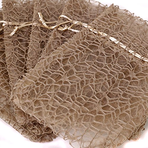 30 Organza Lace Bags Wedding Showers Party Favor Fabric Candy Goody Bags (Beige, 7 x 12 - M)