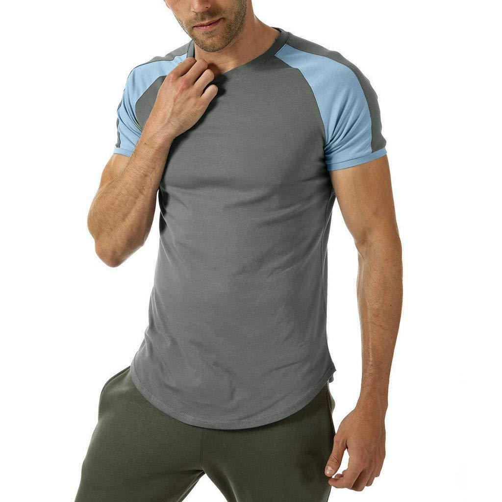 Giulot Men's Raglan Jersey Shirt-Crew Neck Short Sleeve T-Shirt for Boys-Slim-Fit Lightweight Tank Tops Vest Gray