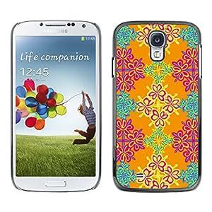 Qstar Arte & diseño plástico duro Fundas Cover Cubre Hard Case Cover para SAMSUNG Galaxy S4 IV / i9500 / i9515 / i9505G / SGH-i337 ( Wallpaper Floral Orange Pink Turquoise)