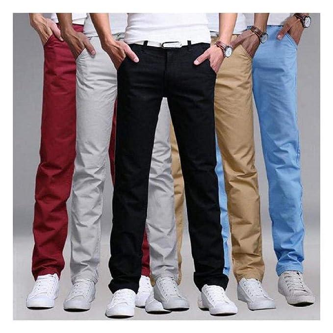 New Men Slim Fit Straight-Leg jeans Trousers Casual pencil Business Pants Mens