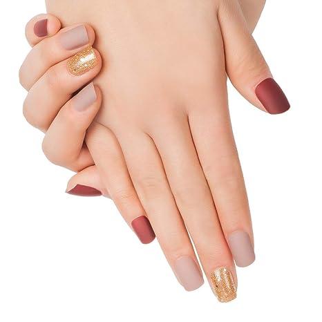 Doreliss uñas postizas 30 Pcs Mate Consejos corto uñas falsas de Pegamento adhesivo de doble cara Vino Rojo