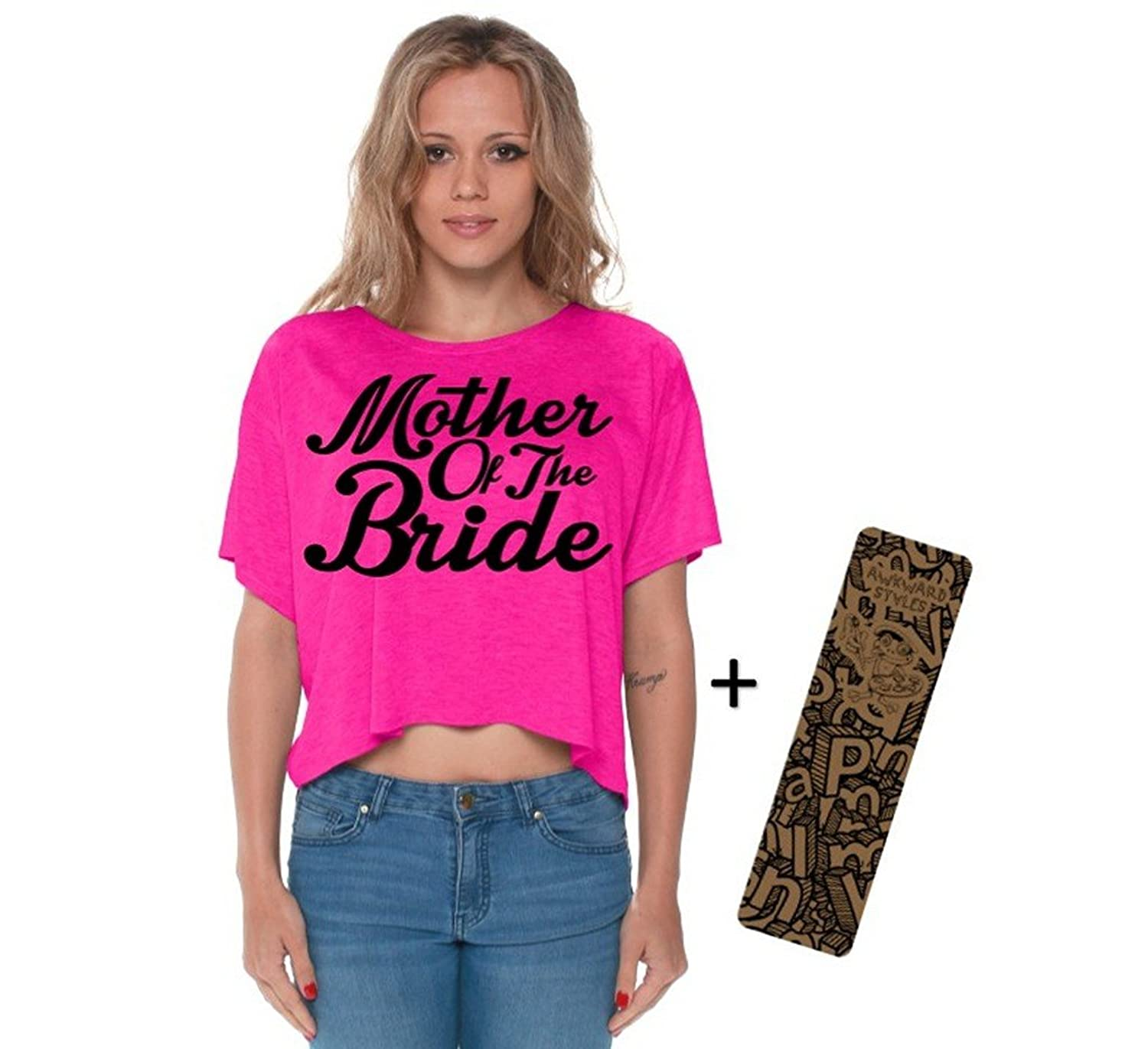 Awkwardstyles Mother Of The Bride Boxy Crewneck Flowy Crop Top B + Bookmark