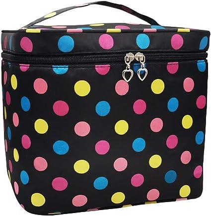 Neceser grande para maquillaje, Polka Dot cosméticos bolsas de mano,Cosméticos maquillaje bolsa, Estuche Cosmético Regalo para niñas mujeres: Amazon.es: Belleza