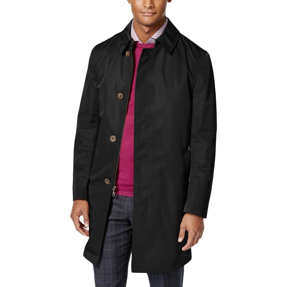 Calvin Klein Mens melford Slim Fit Multiple Pockets Raincoat Black 36R