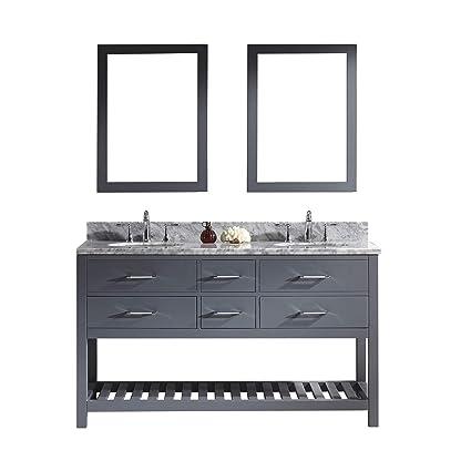 Virtu Usa Caroline Estate 60 Inch Double Sink Bathroom Vanity Set In