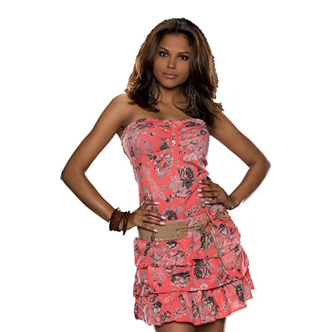 Luisa Fashion - Vestido - sujetador bandeau - Sin mangas - para mujer Rosa coral Talla única: Amazon.es: Ropa y accesorios