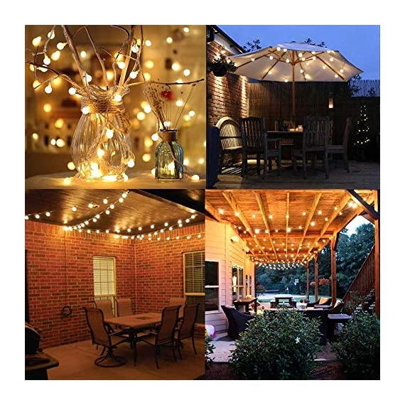 LED Globe String Lights twinkle lights ,Plug in Fairy Lights,49Ft 100 LED String Light, Waterproof, Perfect for Indoor Outdoor Wedding Birthday Party with 30V Low VoltageTransformer,Extendable - √ Good Quality& Safety-The length of this globe LED light chain is 15m long(10m String Lights, 5m Lead Wire), the distance between two light ball is 10cm, the input voltage is: 120V,The output voltage:29V, it is more safe and Energy saving when you use it √ Extension & 8 Modes- Linkable LED String Lights with Male and Female Safe Plug to fit different size Christmas trees and garlands,Strings can be connected in series, you can DIY Its length to meet your request . And this led string light has 8 modes : Combination, In Waves, Sequential, Slo-Glo, Chasing/Flash, Slow Fade, Twinkle/Flash, Steady on.It also has memory function, you can control it as you like √ Waterproof & Eco-friendly-The waterproof of our this globe string lights is IP44, You can use it in indoor or outdoor, and The globe that made of translucent plastic keeps the lights is still safe at a low temperature after long lasting.And they are more non-friable than glass globes. - patio, outdoor-lights, outdoor-decor - 61DLzk1OSPL. SS570  -