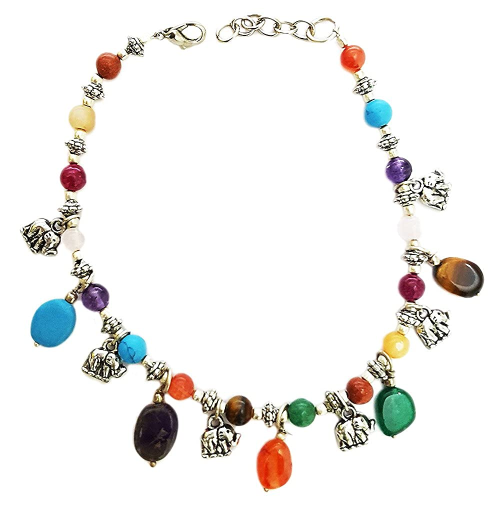 Mehrunnisa Fashion Chakra Healing Gemstones And Elephant Charms Anklet For Girls (JWL680)