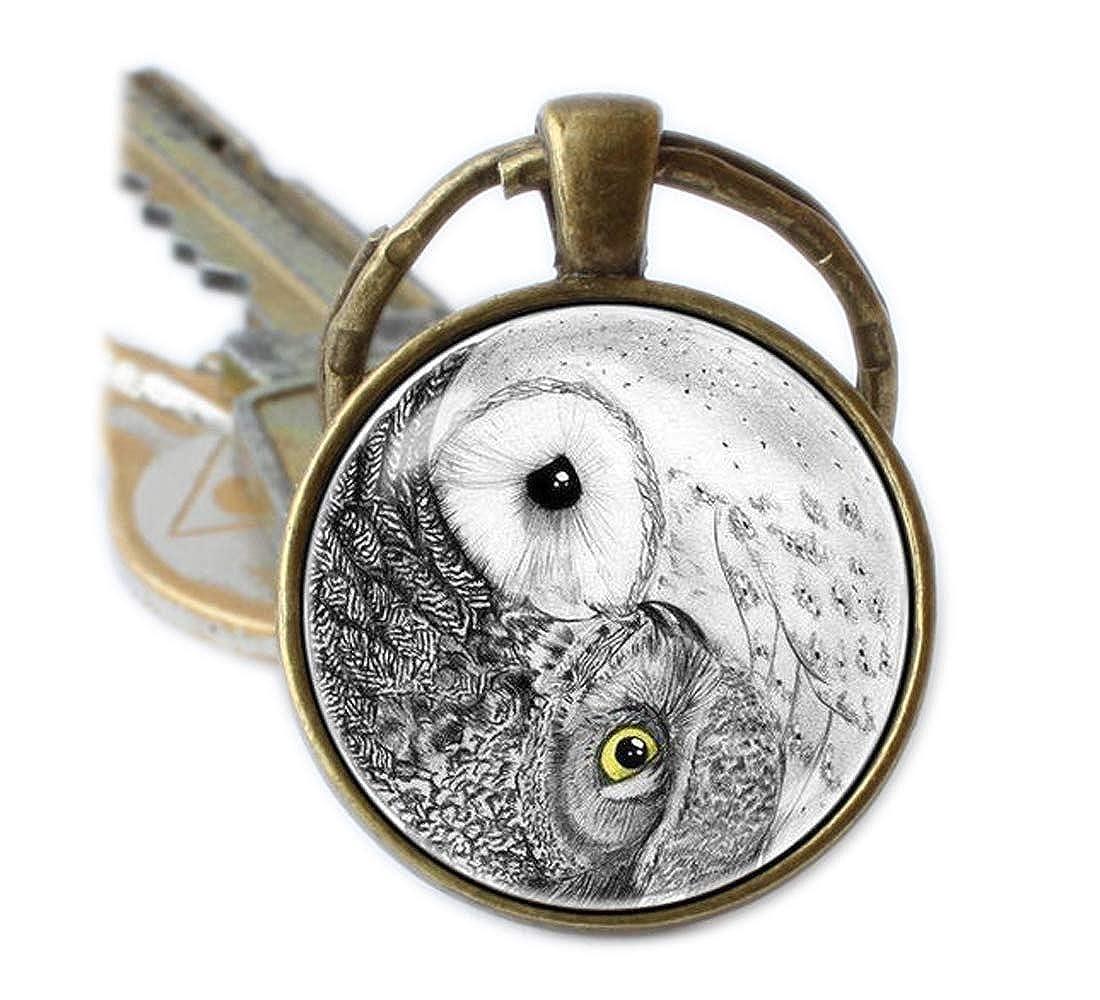 chouettes Keychain Porte-cl/és Yin Yang Zen Porte-cl/és Gris Hibou Oiseau Porte-cl/és