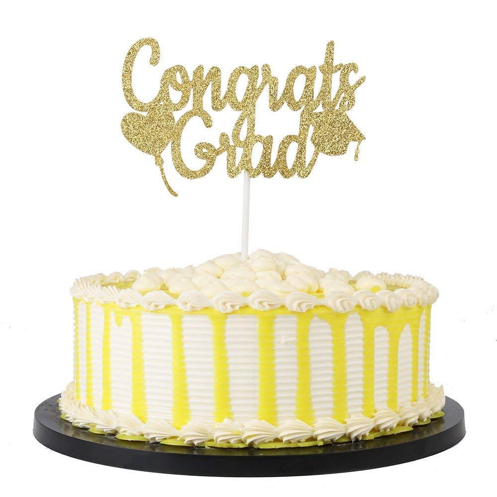 KISKISTONITE Single Sided Glitter Congrats Grad Cake Topper - High School Graduation, College Graduate Party Decorations Supplies Special Event