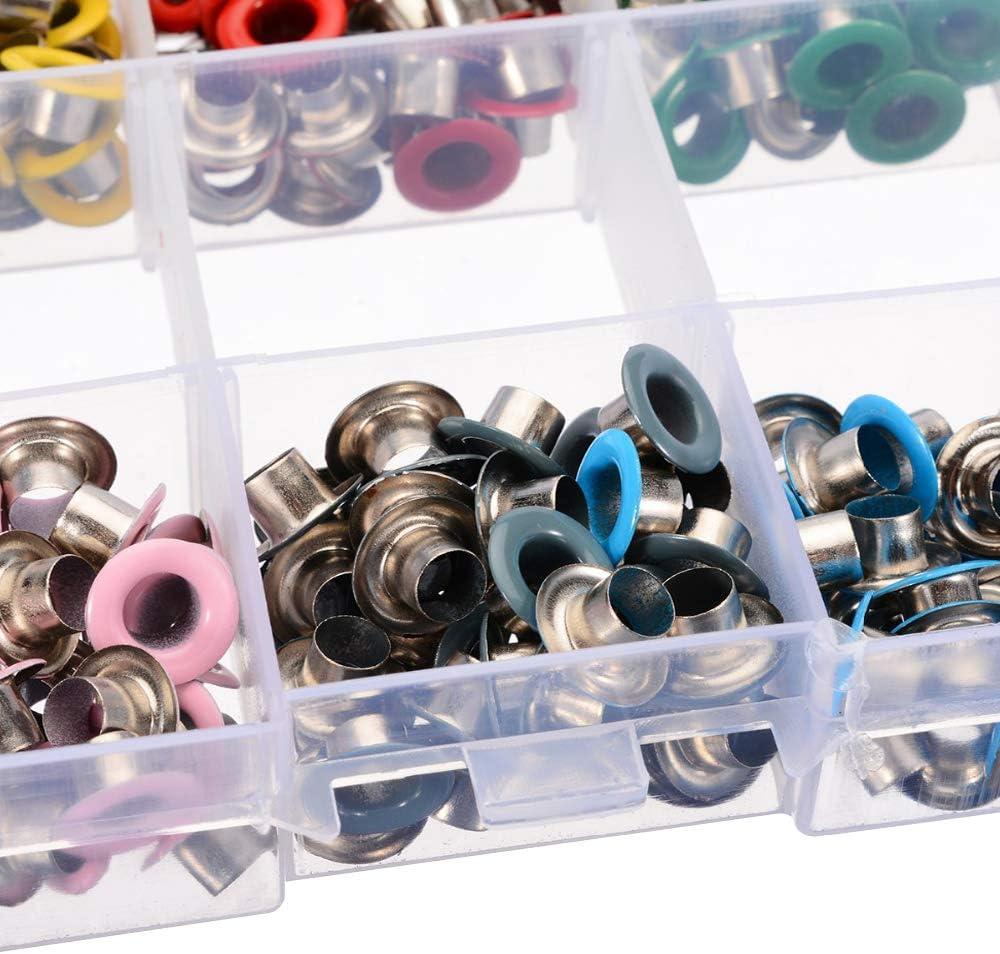 Bestgle 600 Piezas Kit de Ojetes Metalicos Con Herramienta De Montaje y Caja De Almacenamiento 10 Colores para Zapatos,Cazadora,Cinturones,Ropa,Bolsos