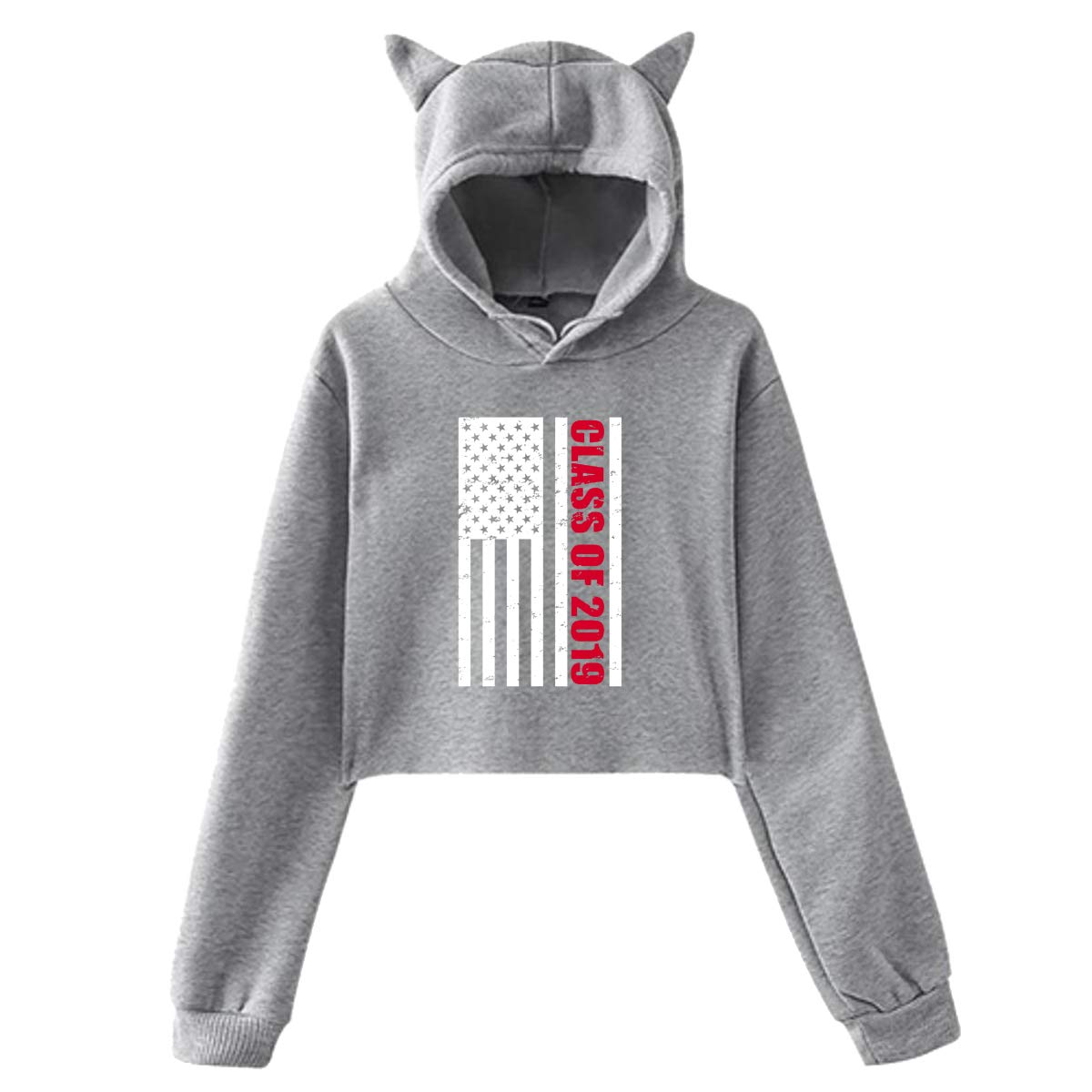 PDJUSH Womens Class of 2019 American Flag Sweatshirt Girl Lovely Cat Ear Hoodie Sweater Comfortable Long Sleeve Hoody Gray S