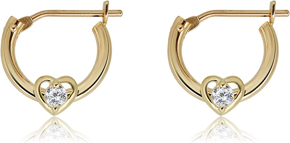 10K Solid Gold CZ Baby Huggie Earrings Dangle Heart Hoop 10mm Yellow or White