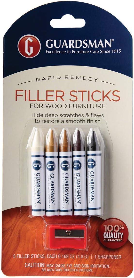 Guardsman Wood Repair Filler Sticks - 5 Colors Plus Sharpener, Repair and Restore Scratched Furniture