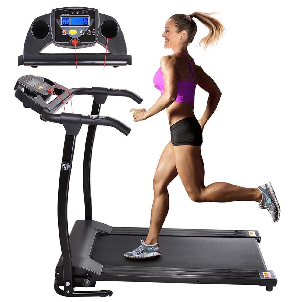 AW 1100W Folding Electric Treadmill Portable Power Motorized Machine Running Jogging Gym Exercise Fitness Black by AW (Image #1)